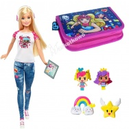 Barbie Video Game Hero - zestaw - lalka Barbie, figurki + piórnik