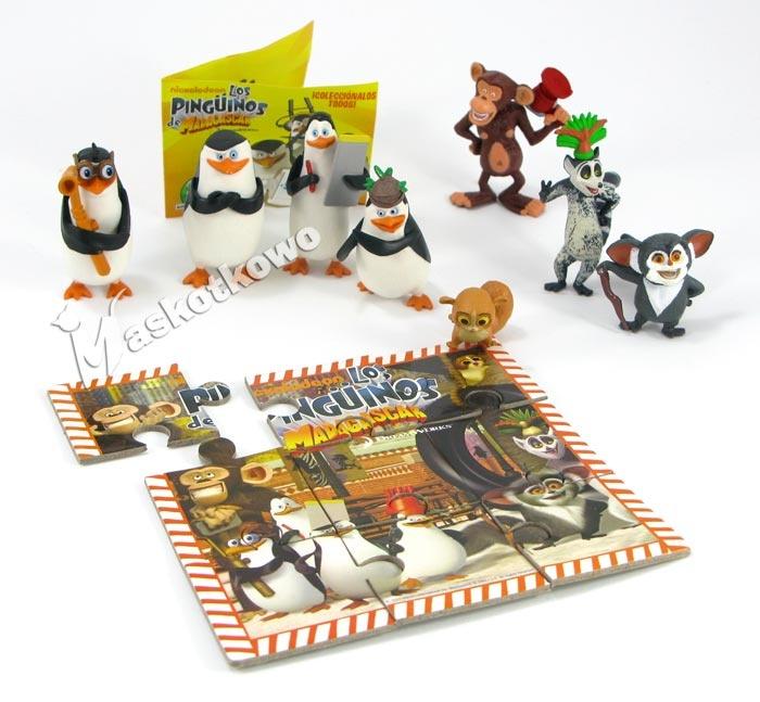 Pingwiny Z Madagaskaru Komplet Figurek 8szt Mini Puzzle