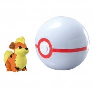 Pokemon - TOMY - figurka+kula - T19138 Growlithe + Premier Ball